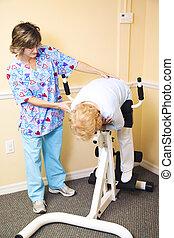 rygg, terapi, fysisk, -, spänning