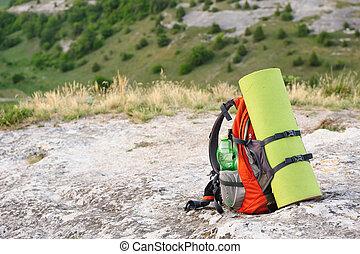 ryggsäck, packat
