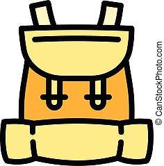 ryggsäck, unge, stil, skissera, ikon