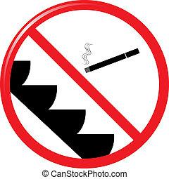 rygning, rulletrappe, tegn, nej