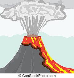 ryka, vulkan, med, hetsande, lava, och, stor, kolonn, av,...