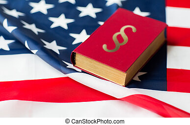 rykke sammen, i, amerikaner flag, og, lawbook
