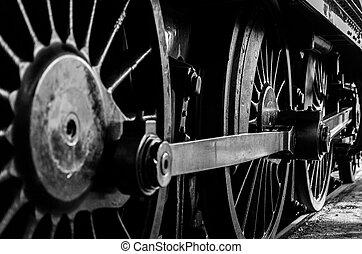 rykke sammen, i, damp, lokomotiv, hjul