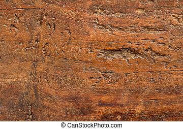 rykke sammen, i, en, antik, træ, planke