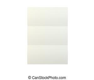 rykke sammen, i, en, crumpled, unfolded, avis, på hvide, baggrund., 3, gengivelse