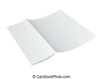 rykke sammen, i, en, crumpled, unfolded, stykke, i, paper., 3, rendering.