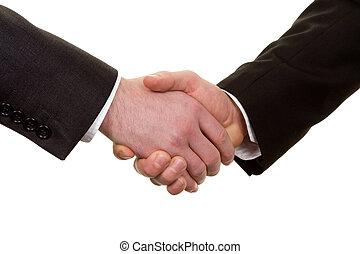 rykke sammen, i, en, håndslag