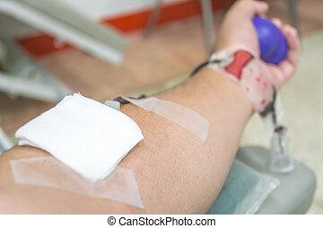 rykke sammen, i, en, patient, transfused, blod, ind, hospitalet