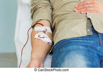 rykke sammen, i, en, patient, transfused