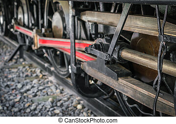rykke sammen, i, gamle, tog, hjul