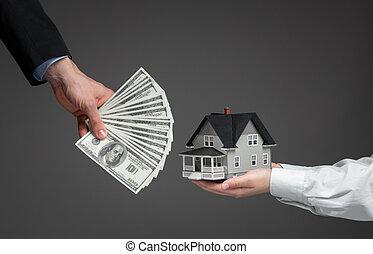 rykke sammen, i, hænder, give, hus, model, by, penge