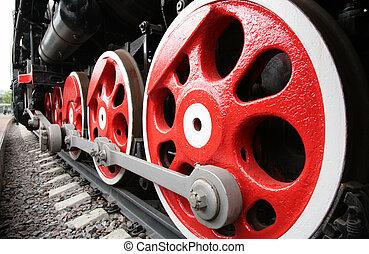 rykke sammen, i, lokomotiv, hjul