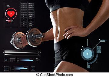 rykke sammen, i, sportsmæssige, kvinde, exercising, hos, dumbbell