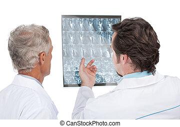 rykke sammen, i, to, doktorer, diskuter, diagnosticere, i,...