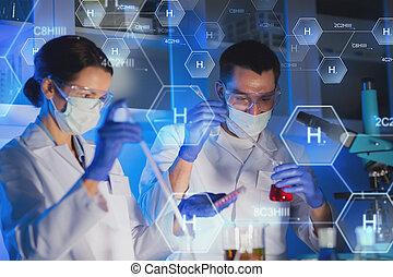 rykke sammen, i, videnskabsmænd, indgåelse, prøve, ind,...
