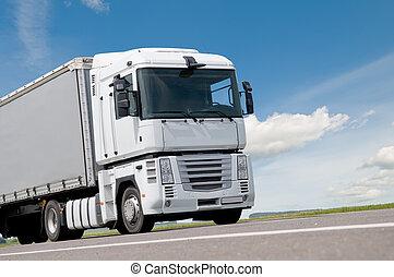 rykke sammen, lastbil, lastbil, på, vej