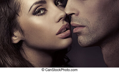 rykke sammen, portræt, i, en, kælende par