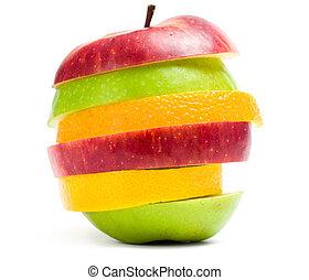 rykke sammen, skud, i, frugt skiver, ind form, i, æble