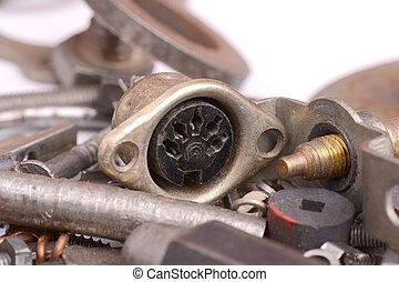 rykke sammen, udsigter, i, gamle, metal, detaljer, og, skruer