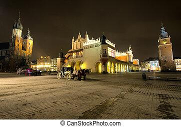 Rynek Main Market Square by Night ,Krakow, Poland