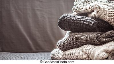 rynkat, tröjor, stack