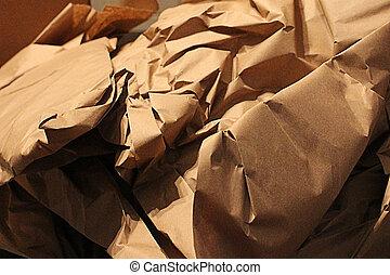 rynkig, brun, papper