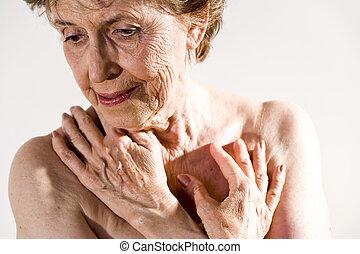 rynkig, kvinna, äldre, skinn
