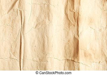 rynkig, papper, gammal