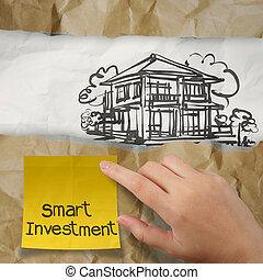 rynkig, pappers- gårdsbruksenhet, hand, smart, hus, klibbig, investering, anteckna, begrepp