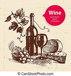 rys, banner., rocznik wina, ilustracja, ręka, tło,...
