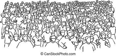 rys, biegacz, doodle, kwestia, odizolowany, ilustracja, ręka, wektor, czarne tło, pociągnięty, biały, maraton