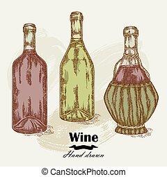 rys, butelki, vintage., ręka, wektor, pociągnięty, wino