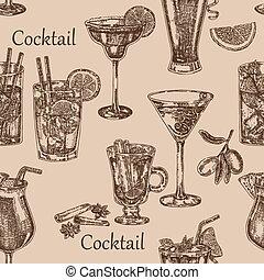 rys, cocktail, seamless, ilustracja, ręka, tło., wektor, pociągnięty