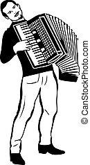 rys, człowiek grający akordeon