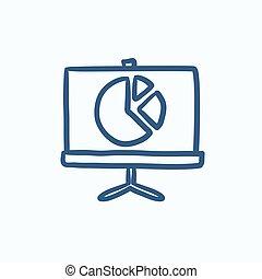 rys, ekran, pasztetowa mapa morska, icon., wałek
