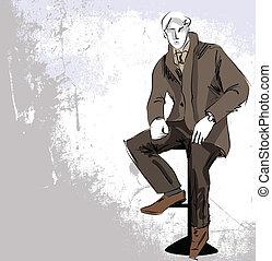 rys, fason, &, przystojny, człowiek