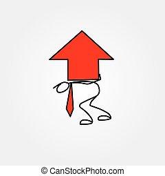 rys, figura, handlowy, cielna, wykres, wtykać, strzała, człowiek, rysunek, czerwony, ikona