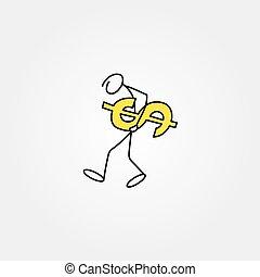 rys, figura, handlowy, dolary, wtykać człowieka, rysunek, ikona