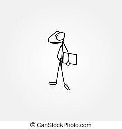 rys, figura, handlowy, wtykać, walizka, człowiek, rysunek, ikona