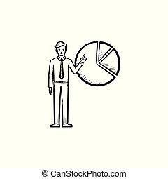 rys, figura, ręka, diagram, pociągnięty, icon., człowiek