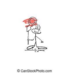 rys, figura, ręka, wtykać, ludzki, uśmiech, znak, rysunek, człowiek
