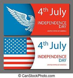 rys, flag., tła, 4, ręka, amerykanka, wektor, projektować, pociągnięty, chorągwie, lipiec, dzień, niezależność