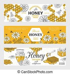rys, graficzny, organiczny, pszczoły, jadło, rocznik wina, labels., ręka, miód, tło, wektor, retro, pociągnięty, chorągwie, plaster miodu, design.