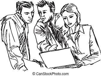 rys, handlowy, pracujące ludzie, pomyślny, biuro., laptop, ...