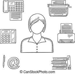 rys, ikony, asystent, zawód, albo, sekretarka