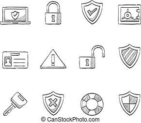 rys, ikony, -, bezpieczeństwo, internet