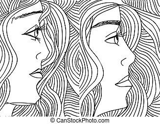 rys, illustration., abstrakcyjny, wektor, face., kobiety