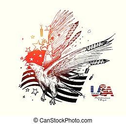 rys, illustration., -, amerykanka, 4, eagel, bandera, wektor, dzień, pociągnięty, lipiec, ręka, niezależność