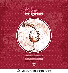 rys, illustration., rocznik wina, ręka, tło., projektować,...