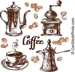 rys, illustration., rocznik wina, set., kawa, ręka, wektor, pociągnięty
